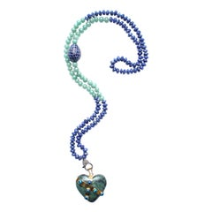 Clarissa Bronfman Lapis, Jade, Sapphire, Diamond, 14k Gold Locked Heart Necklace