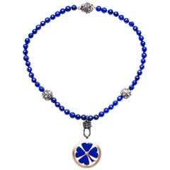 Clarissa Bronfman Lapis Rose Cut Diamond 14k Gold Enamel Clover Pendant Necklace