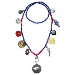 Clarissa Bronfman Lapis, Ruby 'Birthday' Necklace with Ebony Evil Eye Pendant