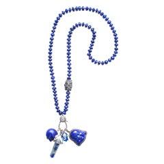 Clarissa Bronfman Lapis, Sapphire, Diamond, Silver Multi Charm Beaded Necklace