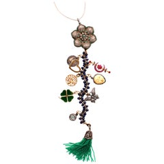 Clarissa Bronfman Lapis,Emerald,Ruby,Diamond 'Mellow Drama' Symbol Tree Necklace