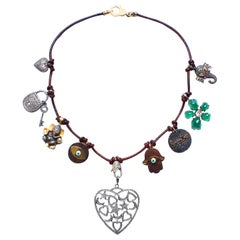Clarissa Bronfman Leather Agate Ebony 14K Gold Diamond Ruby Heart Charm Necklace