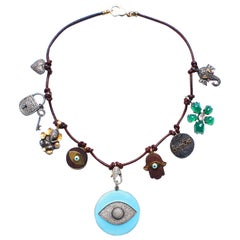 Clarissa Bronfman Leather Diamond Ebony Agate Ruby Enamel Evil Eye Necklace
