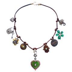 Clarissa Bronfman Leather, Diamond, Ebony, Enamel, Ruby, Emerald, Gold Necklace