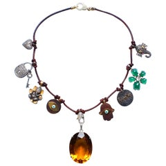 Clarissa Bronfman Leather Diamond Ruby Ebony Enamel 14k Gold Citrine Necklace