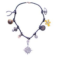 Clarissa Bronfman Leather Multi Charm Necklace with Diamond Starburst Pendant