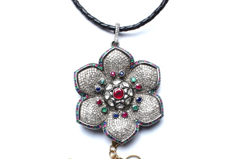 Rose Cut Clarissa Bronfman 'Lost in Paradise' Ruby, Sapphire, Diamond, Symbol Tree For Sale
