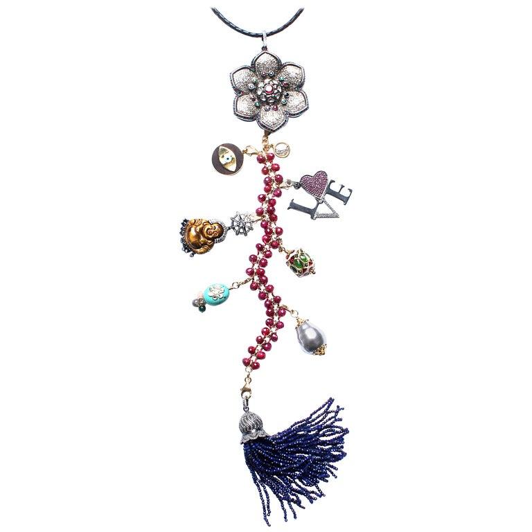 Clarissa Bronfman 'Lost in Paradise' Ruby, Sapphire, Diamond, Symbol Tree For Sale