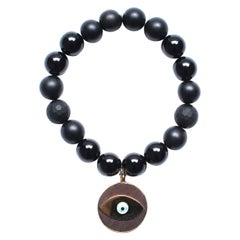Clarissa Bronfman Matte and Shiny Onyx, 14k Gold, Ebony Evil Eye Beaded Bracelet