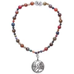 Clarissa Bronfman Multi Agate Diamond Sapphire Enamel Ruby Beaded Necklace