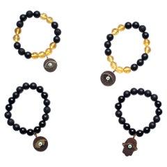 Clarissa Bronfman Onyx, Citrine, Ebony, 14 Karat Gold Evil Eye Bracelet
