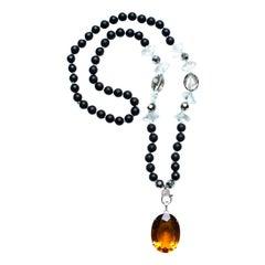 Clarissa Bronfman Onyx Crystal Diamond Citrine Pendant Necklace