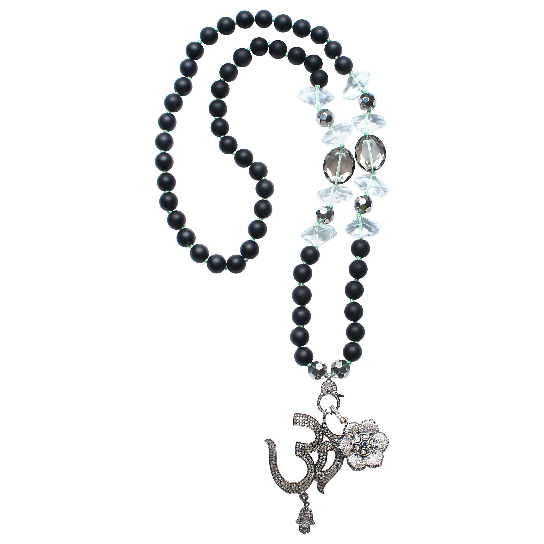 Clarissa Bronfman Onyx, Crystal, Sapphire, Diamond Ohm Flower Beaded Necklace