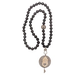 Clarissa Bronfman Onyx, Diamond, and Silver Hamsa Hand Pendant Beaded Necklace