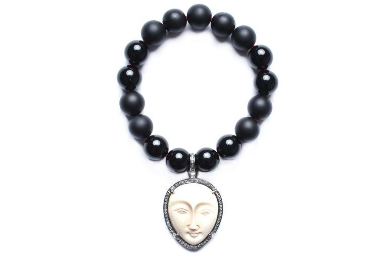 Mixed Cut Clarissa Bronfman Onyx, Diamond, Bone Beaded Bracelet