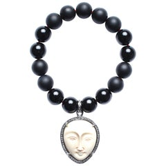 Clarissa Bronfman Onyx, Diamond, Bone Beaded Bracelet