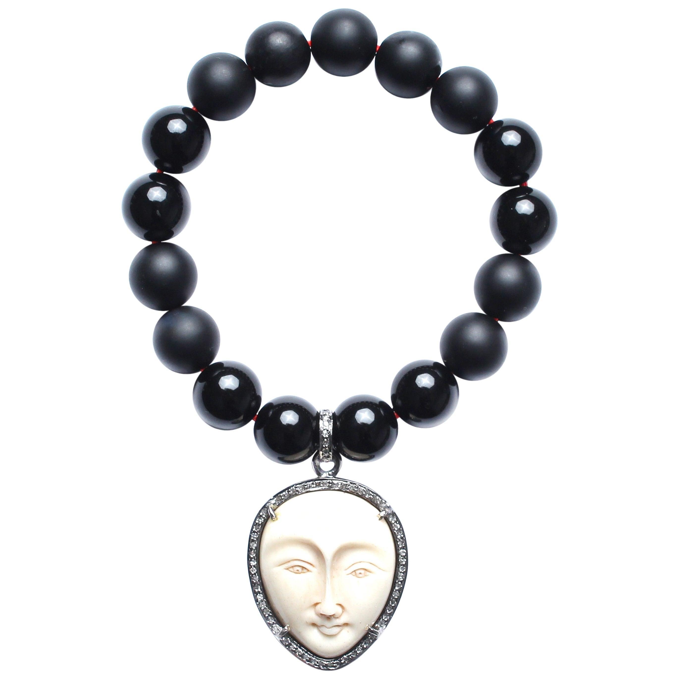Clarissa Bronfman Onyx, Diamond, Bone Beaded Bracelet
