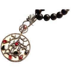 Clarissa Bronfman Onyx, Diamond, Silver, Ruby, Emerald, Bone Beaded Necklace