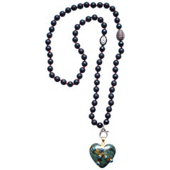 Clarissa Bronfman Onyx, Red Thread, Enamel, Diamond, Jade Heart Beaded Necklace