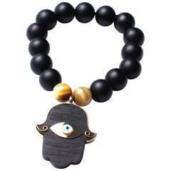 Clarissa Bronfman Onyx, Tiger Eye Bead, Ebony, 14K Gold Enamel Hamsa Bracelet
