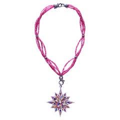 Clarissa Bronfman Pink Agate Diamond Sapphire Peridot Starburst Pendant Necklace