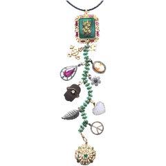 "Clarissa Bronfman 'Queen Shiva I"" Emerald, Ruby, Diamond Symbol Tree Necklace"