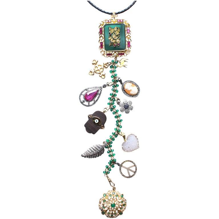 "Clarissa Bronfman 'Queen Shiva I"" Emerald, Ruby, Diamond Symbol Tree Necklace For Sale"