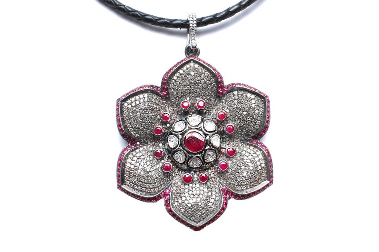 Contemporary Clarissa Bronfman Rose Cut Diamond, Ruby, Flower Pendant on Suede Diamond Cord For Sale