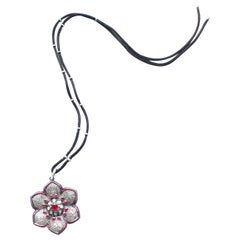 Clarissa Bronfman Rose Cut Diamond, Ruby, Flower Pendant on Suede Diamond Cord