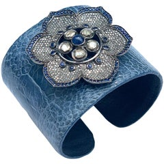Clarissa Bronfman Rose Cut Diamond, Sapphire, Flower Crocodile Skin Bracelet