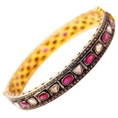 Clarissa Bronfman Rosecut Diamond and Rubies on Silver Bangle