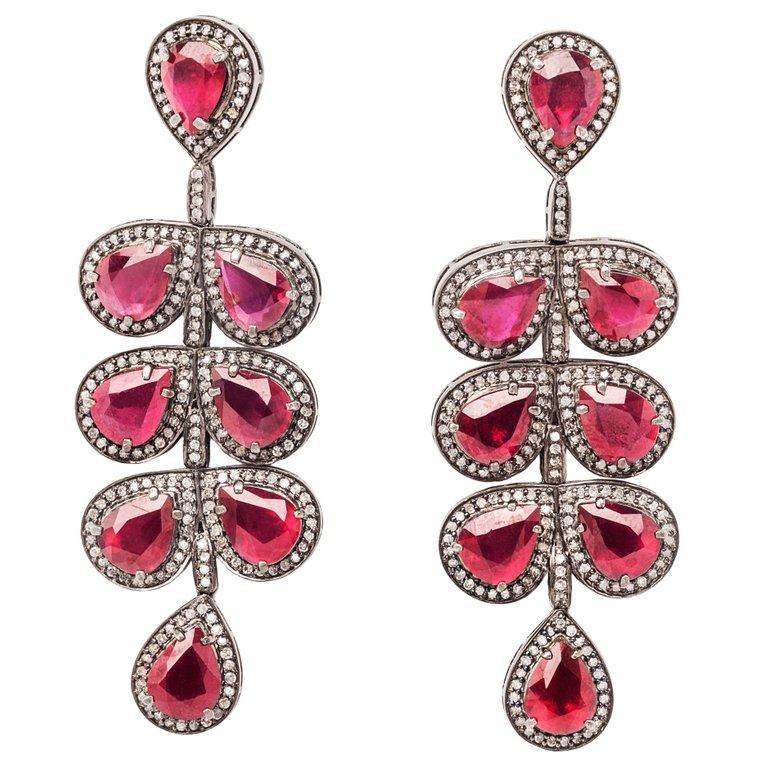 Portrait Cut Clarissa Bronfman Ruby and Diamond Statement Chandelier Earrings  For Sale