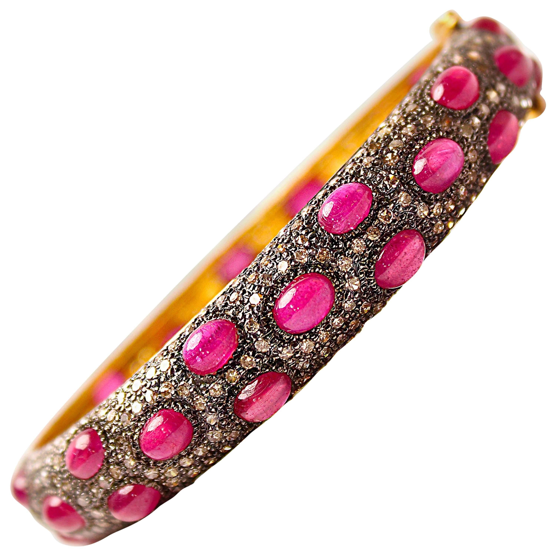 Clarissa Bronfman Ruby and Diamond on Silver Bracelet