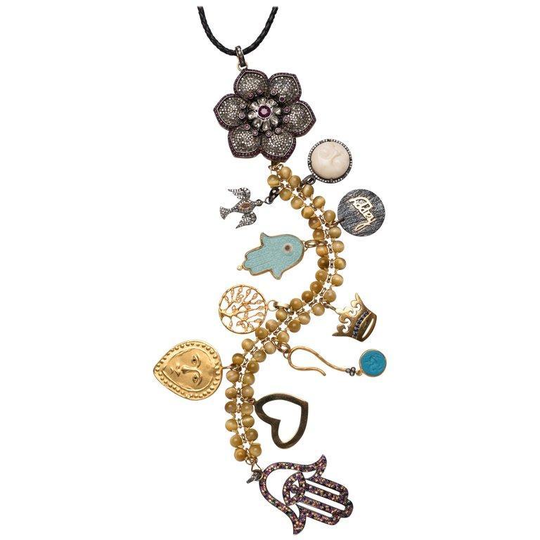 Contemporary Clarissa Bronfman Ruby, Diamond, Bone Sapphire 'Wild Child' Symbol Tree Necklace For Sale