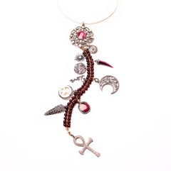 Clarissa Bronfman Ruby, Diamond, Silver, Gold 'Scarlet' Symbol Tree Necklace