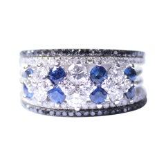 Clarissa Bronfman Sapphire White and Black 5 Tier Diamond Ring