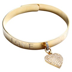Clarissa Bronfman Signature 14 Karat Gold Diamond Engraved Heart Bangle