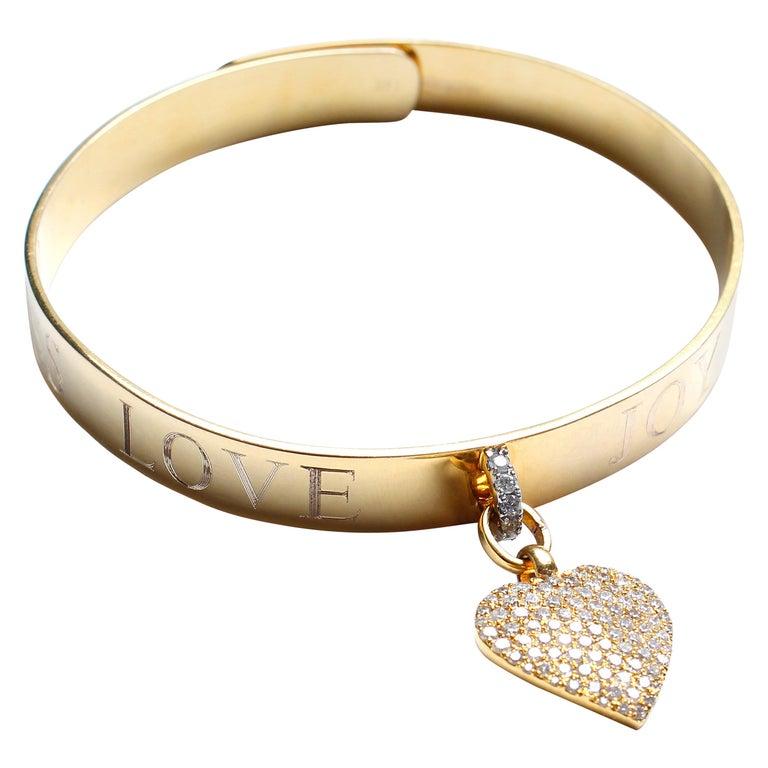 Clarissa Bronfman Signature 14 Karat Gold Diamond Engraved Heart Bangle For Sale