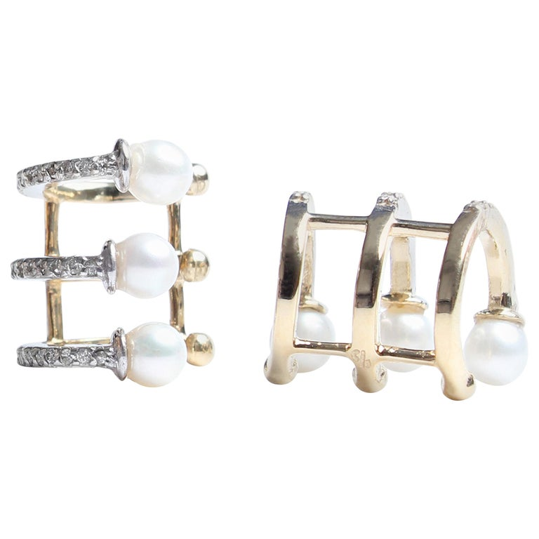 "Clarissa Bronfman Signature 14 Karat Gold, Diamond, Pearl ""Bettina"" Cuff Earring For Sale"