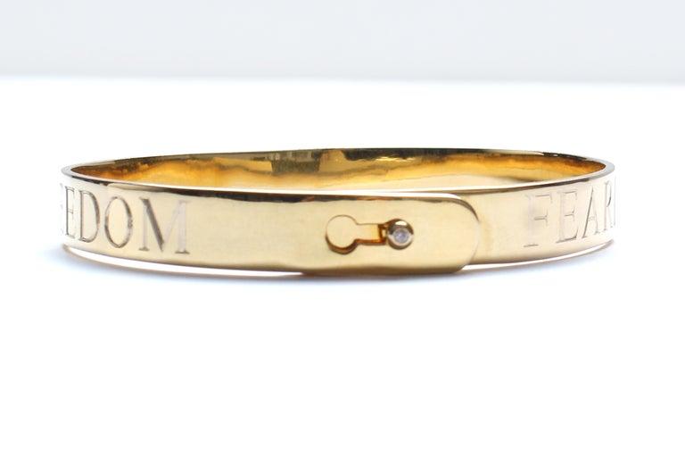 Clarissa Bronfman Signature 14 Karat Gold Diamond Engraved Heart Bangle For Sale 5