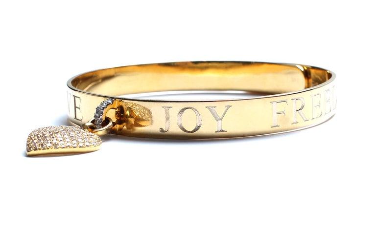 Clarissa Bronfman Signature 14 Karat Gold Diamond Engraved Heart Bangle For Sale 2