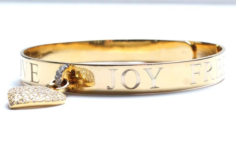 Clarissa Bronfman Signature 14 Karat Gold Diamond Engraved Heart Bangle For Sale 3