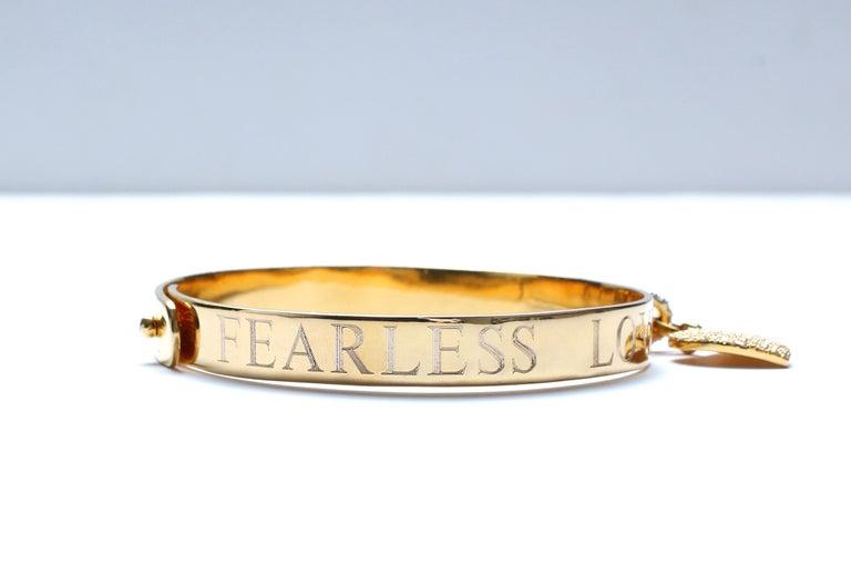 Clarissa Bronfman Signature 14 Karat Gold Diamond Engraved Heart Bangle For Sale 4