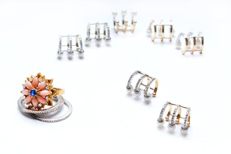 Women's or Men's Clarissa Bronfman Signature 14 Karat Gold, Diamond, Pearl