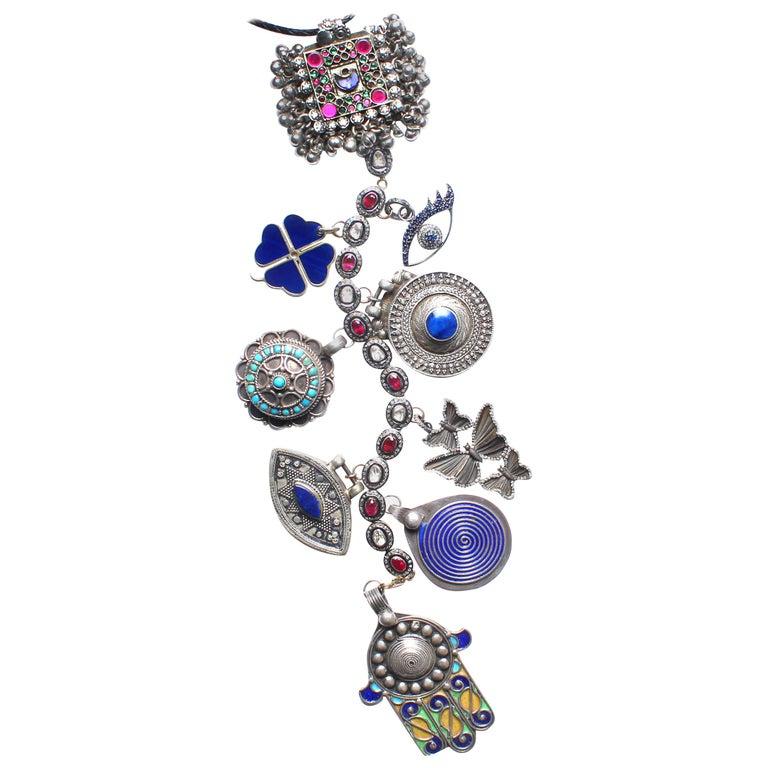 Clarissa Bronfman Signature Antique Moroccan 'Casablanca' Symbol Tree Necklace For Sale