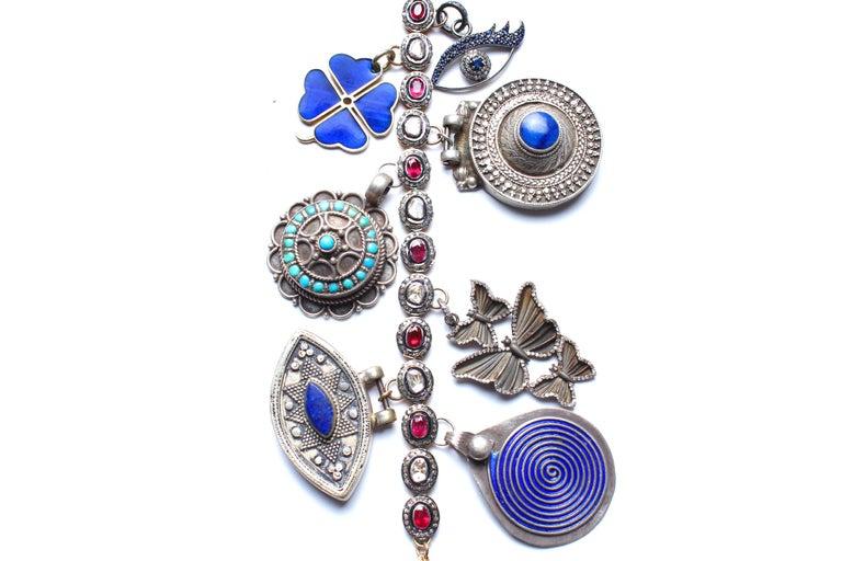 Rose Cut Clarissa Bronfman Signature Antique Moroccan 'Casablanca' Symbol Tree Necklace For Sale