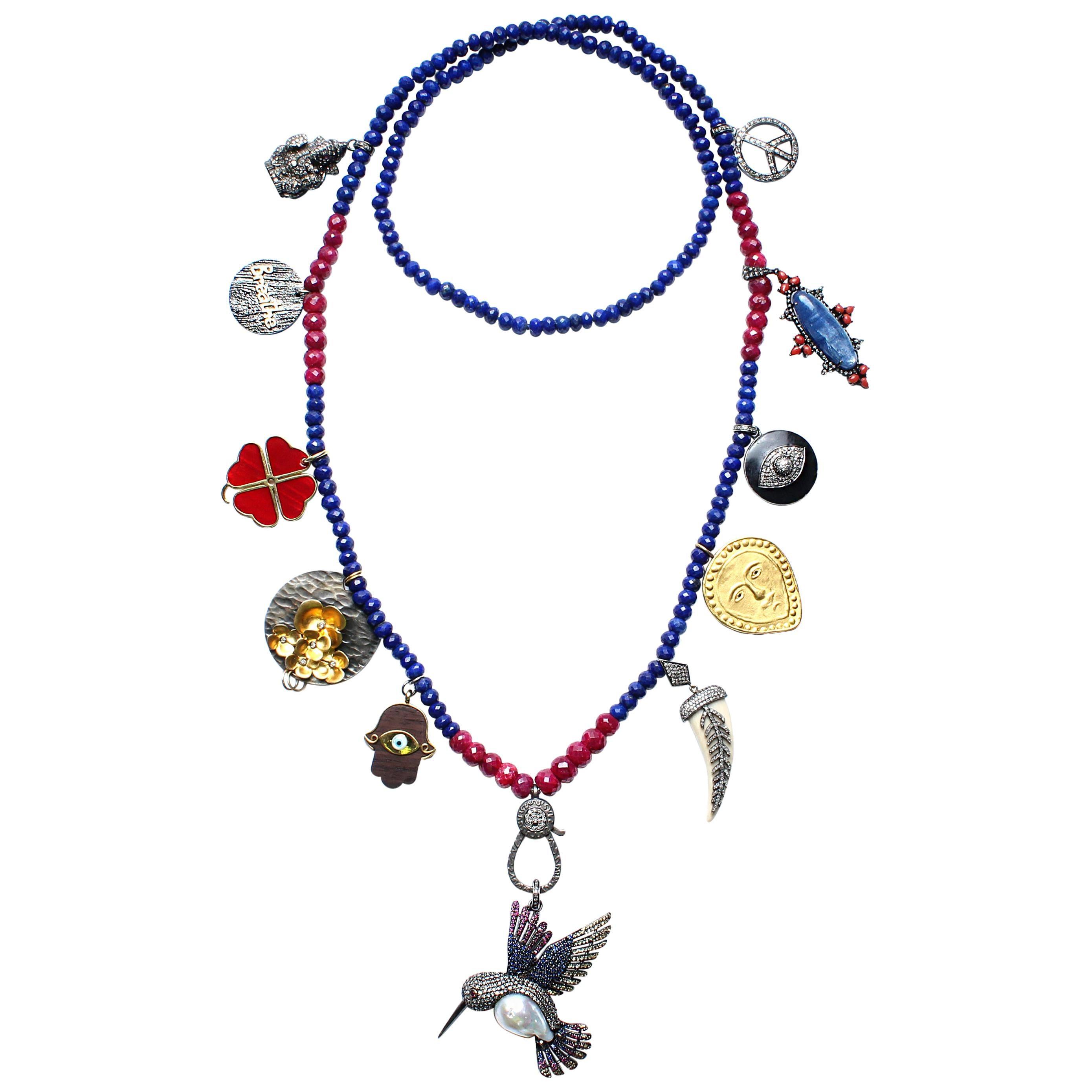Clarissa Bronfman Signature Birthday Necklace with Hummingbird Pendant