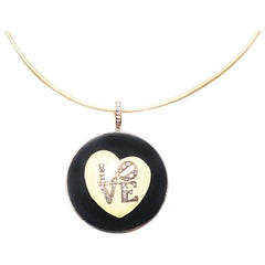 Clarissa Bronfman Signature Ebony Collection, 14k Gold, Diamond 'LOVE' Pendant