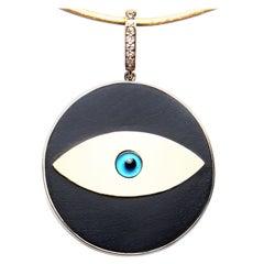 Clarissa Bronfman Signature Ebony Evil Eye Pendant on Gold Silk Cord
