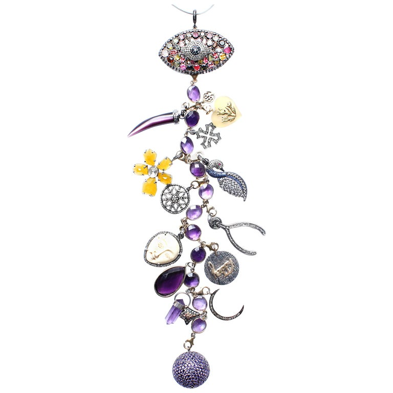Clarissa Bronfman Signature 'Eye Am Adored' Symbol Tree Necklace For Sale